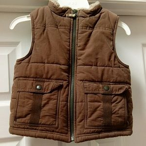 Gymboree fleece lined brown and tan vest XS